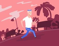 Gray-haired grandpa at sportswear running at park. stock illustration