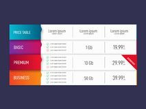Price table for websites and applications. Vector illustration. Price table for websites and applications. Business template. Vector illustration royalty free illustration