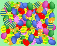Many coloured easter eggs vector background royalty free illustration