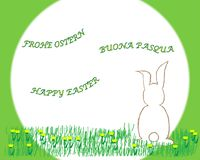 Easter bunny sitting in the grass vector image. Easter bunny sitting in the grass with yellow spring flowers, greetings in three languages happy easter, buona vector illustration