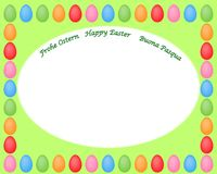 Happy Easter frame with coloured eggs vector illustration