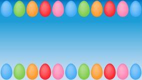 Colourful easter eggs frame on blue surface background vector illustration
