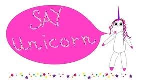 Unicorn speech therapist with a speech bubble vector illustration