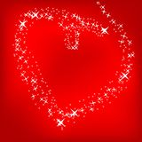 Heart of the stars on a bright red background royalty free illustration