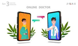 Online doctor character or patient consultation royalty free illustration