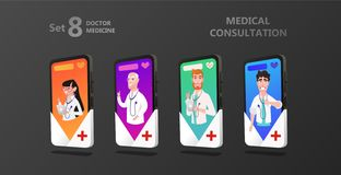 Online octor on the smartphone screen vector illustration