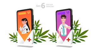 Online doctor character set, patient consultation stock illustration