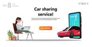 Online carsharing. Car on screen smartphone. royalty free illustration