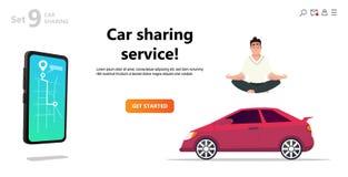 Car sharing service. Yoga calm man and car. vector illustration
