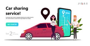 Mobile city transportation concept, Online car sharing royalty free illustration