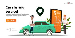 Car sharing concept. Onlintransport service rent. Car sharing concept. Business man with smartphone and rent car. Parking service website template. Online royalty free illustration
