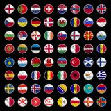 All europe flags circle shape icons royalty free illustration