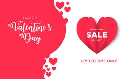 Valentines day Sale background with Heart Shaped stock illustration