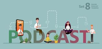 Students watching recorded podcast training royalty free illustration
