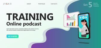 Online training, podcast, radio. Course vector illustration concept, people learning on smartphone study on podcast, can use for, landing page, template, ui royalty free illustration
