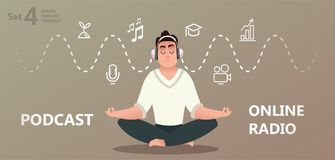 Online training, podcast, radio. stock illustration