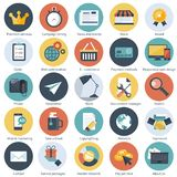 Set of flat design icons for E-commerce, Pay per click marketing, seo, responsive web design, reputation management and Internet m. Arketing. Flat vector royalty free illustration