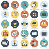 Colorful icon set for business, management, technology and finances. Flat objects for websites and mobile app. Lications vector illustration