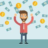 Young happy businessman with a lot of money. Business and financial success concept. Flat royalty free illustration