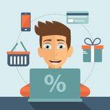 On line shopping concept. Man sitting in front of his lap top and searching for products to buy. Shopping icons. E commerce and pay per click. Flat vector royalty free illustration