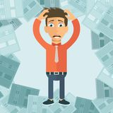 Businessman with pile of paper, business concept. Worried businessman. Deadline concept. Flat royalty free illustration