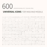 600 simple outline flat icons. Set of universal icons for website and mobile. Flat vector. Illustration vector illustration