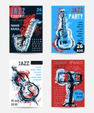 Jazz music party with musical instruments. Saxophone, guitar, cello, drum kit with grunge watercolor splashes. Design template for. Invitation, card, poster vector illustration