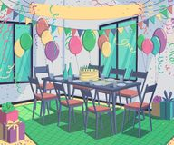 Room interior with decorations for holiday party. Banner for congratulations, table served for dinner with cake, presents, balloon. S, flags, streamers and stock illustration