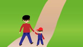 Father and son take a walk through the park stock illustration