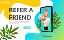 Refer a friend concept. Referral code. Bussines man with megaphone on screen smartphone. Social media concept use for landing page vector illustration