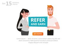 Refer and Earn Vector illustration of guy girl and bubble for you text. royalty free illustration