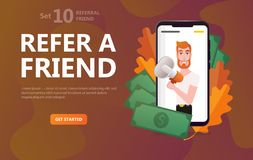 Friend sharing refer. Man character hipster royalty free illustration