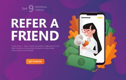 Refer a friend. Girl on scriin smartphone screaming and handing megaphone vector illustration