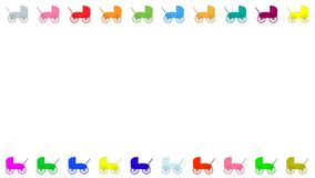 Colourful baby prams frame white background stock illustration