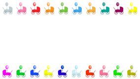 Colourful baby prams with balloons frame royalty free illustration
