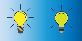 Vector illustration of yellow lightbulb icon as symbol of idea on blue gradient background stock illustration