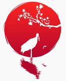 Grunge style flag of Japan. A branch with sakura flowers and a Japanese crane with fish on the background of the red sun. Sakura a. Nd Red - crowned crane. Grus stock illustration
