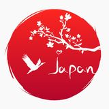 Grunge style. Love Japan. A branch with sakura flowers and a flying Japanese crane on the background of the red sun. Sakura and Re royalty free illustration