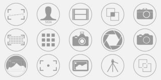Photography icons set - digital camera illustrations - photo & picture sign and symbols. Vector eps 10 vector illustration