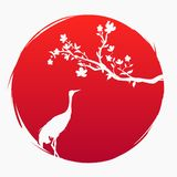 Red flag of Japan. A branch with sakura flowers and a Japanese crane on the background of the red sun. Crabe stock illustration