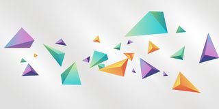 Abstract background with 3d triangles Free Vector. Colorful background. Polychromatic Tripyramid Suspended on White Background stock illustration