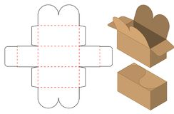 Box packaging die cut template design. 3d mock-up stock illustration
