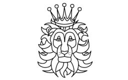 Black and white lion head with a crown vector illustration