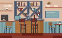 Wine bar with bar desk royalty free illustration