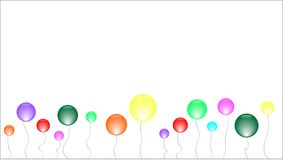 Banner with many colourful spheres on a thread royalty free illustration