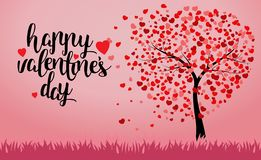 Happy Valentine`s Day trees with heart shape leaves vector illustration