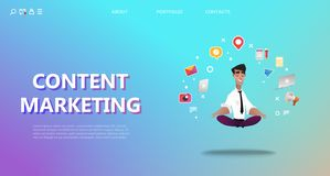Content marketing landing page. Abstract illustration royalty free illustration