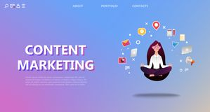 Content marketing landing page. royalty free illustration