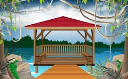 Wooden gazebo at the river royalty free illustration
