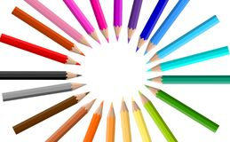 Colorful crayons on the white background stock illustration